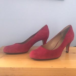 Clarks Soft Cushion Red Suede Heels